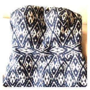Classic blue and white strapless batik dress